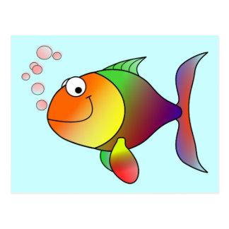 Niedliche lustige Fische - bunt Postkarten