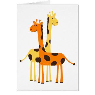 Niedliche lustige Giraffen-Paare Grußkarte