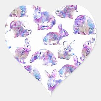 Niedliche lustige Kaninchen Herz-Aufkleber