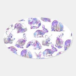 Niedliche lustige Kaninchen Ovaler Aufkleber