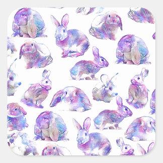 Niedliche lustige Kaninchen Quadratischer Aufkleber