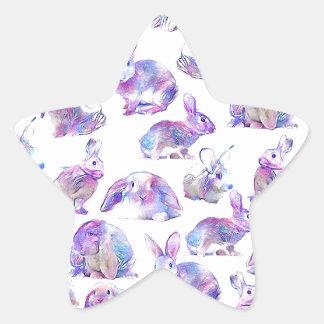 Niedliche lustige Kaninchen Stern-Aufkleber