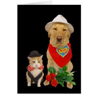 Niedliche, lustige Katze u. Hund/LabradorValentine Grußkarte