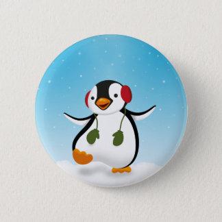 Niedliche lustige Penguin-Winter-Illustration - Runder Button 5,1 Cm