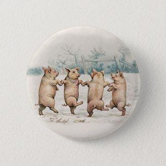 Niedliche, lustige Tanzen-Schweine - Vintages Runder Button 5,1 Cm