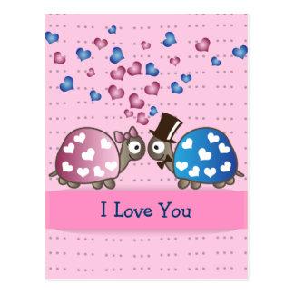 Niedliche lustige Valentinstag-Schildkröten in der Postkarte