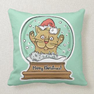 Niedliche lustige Weihnachtskatze Throwkissen Kissen