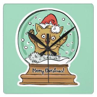 Niedliche lustige Weihnachtskatzen-Wanduhr Quadratische Wanduhr