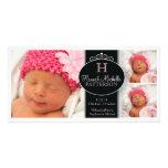Niedliche Mädchen-Baby-Foto-Monogramm-Geburts-Mitt