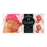 Niedliche Mädchen-Baby-Foto-Monogramm-Geburts-Mitt Photogrußkarten