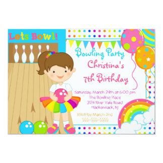 Niedliche Mädchen-Bowlings-Geburtstags-Party Karte