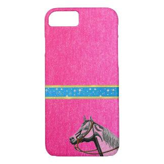 Niedliche Mädchen-entwerfen rosa PferdeGlitzern iPhone 8/7 Hülle