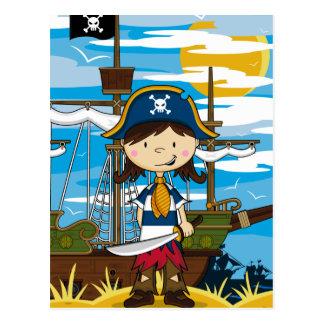 Niedliche Mädchen-Piraten-Postkarte Postkarte
