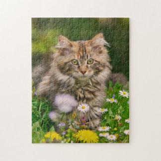 Niedliche Maine-Waschbär-Kätzchen-Katzen-Blumen - Puzzle