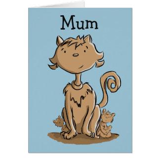 Niedliche Mamakatze und -kätzchen Grußkarte