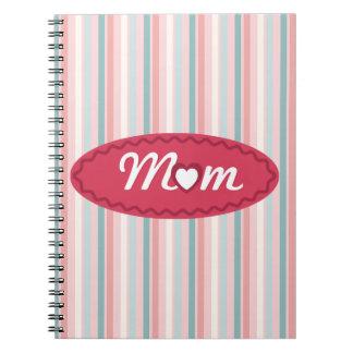 Niedliche Mamma-Herz-Typografie und Streifen Spiral Notizblock