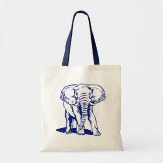 Niedliche Marine-Blau-Elefant-Linie Zeichnen Einkaufstasche