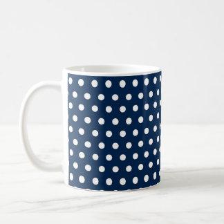 Niedliche Marine-Blau-und Weiß-Polka-Punkte Kaffeetasse