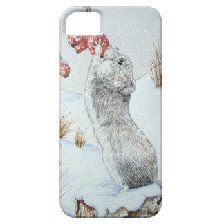 Niedliche Maus und rote Beerenschneeszenenwild Barely There iPhone 5 Hülle