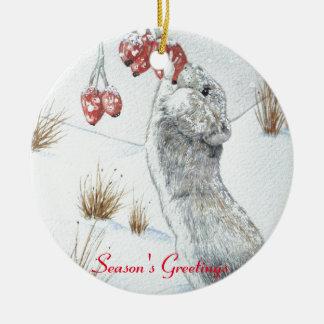 niedliche Maus und rote Keramik Ornament