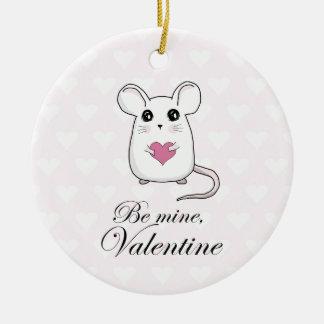 Niedliche Maus - Valentinstag Keramik Ornament