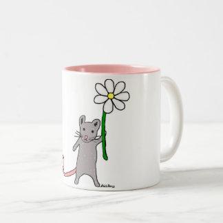 Niedliche Mäuse-und Blumen-Kunst-Tasse Zweifarbige Tasse
