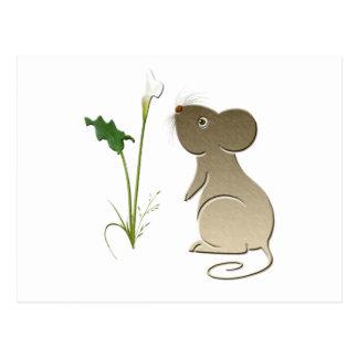 Niedliche Mäuse- und Callalilie Postkarte