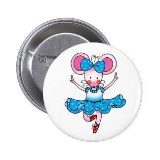 Niedliche Mäusemädchenballerina Anstecknadelbutton