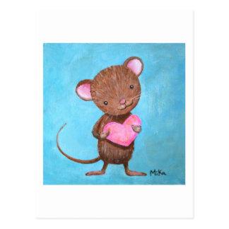 Niedliche Mäusepostkarten-niedliche Maus mit Postkarte