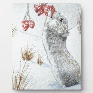 niedliche Mäuseschneeszenentierkunst-Fotoplakette Fotoplatte