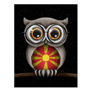 Niedliche mazedonische Flaggen-Eulen-tragende Postkarte