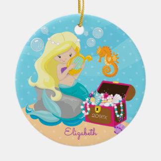 Niedliche Meerjungfrau-personalisierte Keramik Ornament