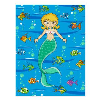 Niedliche Meerjungfrau-und Fisch-Postkarte Postkarte