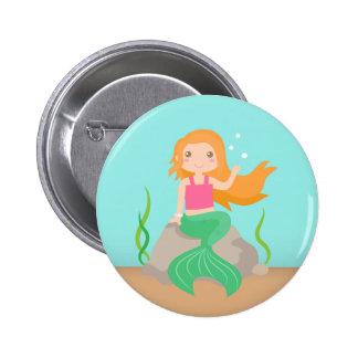 Niedliche Meerjungfrau unter dem Meer, für Mädchen Runder Button 5,7 Cm