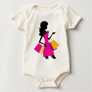 Niedliche Modemädchen-Silhouette/-SCHWARZES, rosa Baby Strampler