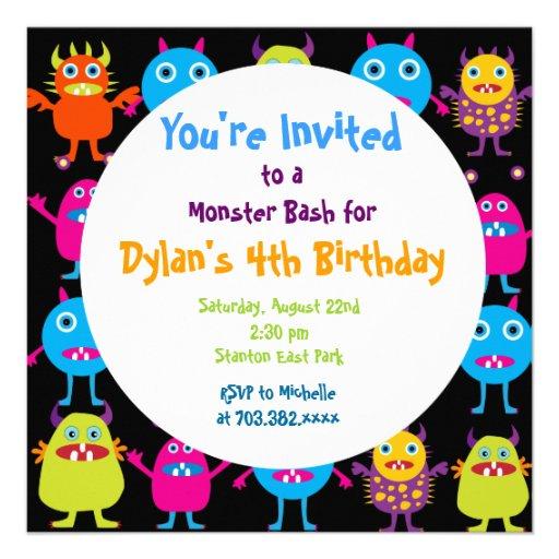 Niedliche Monster-Geburtstags-Party Personalisierte Ankündigung