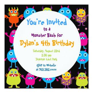Niedliche Monster-Geburtstags-Party Quadratische 13,3 Cm Einladungskarte