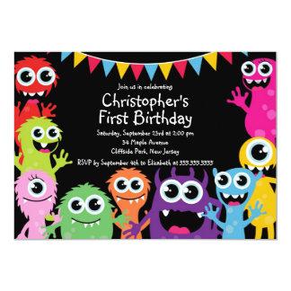 Niedliche Monster-Geburtstags-Party Einladungen