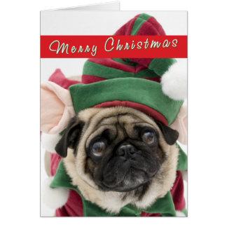 Niedliche Mops-Weihnachtskarte Karte