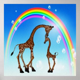 Niedliche Mutter u. Baby-Giraffe u. Regenbogen Plakat