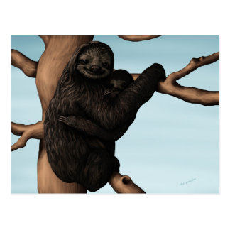 Niedliche Mutterund Babysloth-Postkarte Postkarte