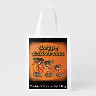 Niedliche orange Halloween-Kürbis-Typen Wiederverwendbare Einkaufstasche