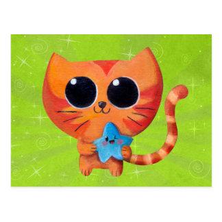 Niedliche orange Katze mit Stern Postkarte