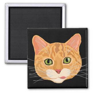 Niedliche orange Katzen-Gesichts-Illustration Quadratischer Magnet
