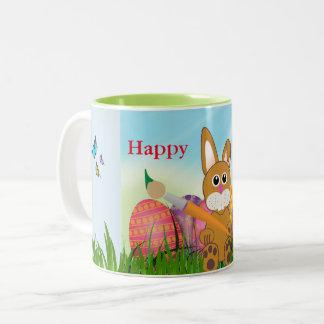 Niedliche Osterhasen-Feiertags-Andenken-Tasse Zweifarbige Tasse