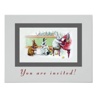 Niedliche Osterhasen - Vintages Ostern-Party 10,8 X 14 Cm Einladungskarte