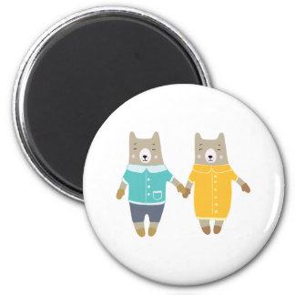 Niedliche Paare der glücklichen Bären Runder Magnet 5,7 Cm