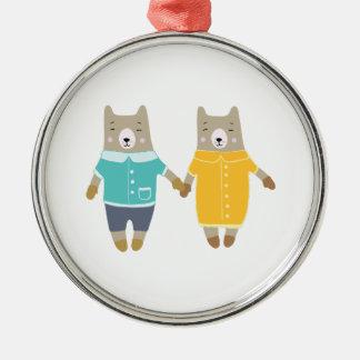 Niedliche Paare der glücklichen Bären Silbernes Ornament