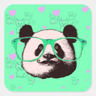 Niedliche Panda-Bärn-Girly Geschenke Kawaii Quadratischer Aufkleber