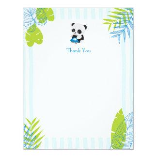 Niedliche Panda-Jungen-Baby-Dusche danken Ihnen 10,8 X 14 Cm Einladungskarte